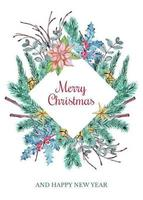 Merry Christmas diamant utskärning krans vektor