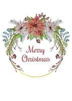 Blomsterarrangemang för julkrans med guldring vektor