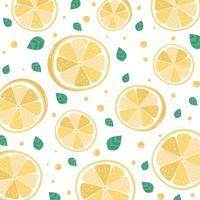 Zitronenscheibenmuster auf Weiß vektor