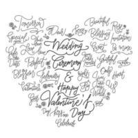 Hochzeitshandgeschriebene Wörter eingestellt in Herzform vektor