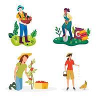 Landarbeiter, die Tätigkeiten im Gartensatz machen vektor