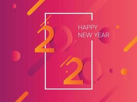 Rosa och orange bakgrund för nytt år 2020 med vit ram vektor