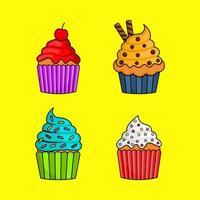 kawaii söta pastell cupcake söta sommardesserter med olika typer vektor