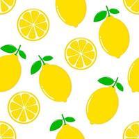 Nahtloses Muster der Zitronenscheiben auf weißem Hintergrund vektor