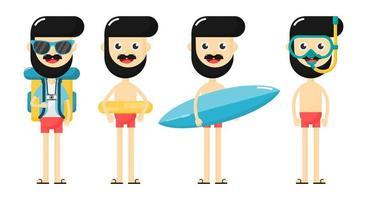 Satz Karikaturschwimmenmänner mit Surfbrett, Rucksack, Schnorchel und Rohr