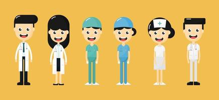 Satz glückliche Doktoren, Krankenschwestern und Charaktere des medizinischen Personals vektor
