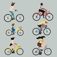 uppsättning människor som cyklar vektor