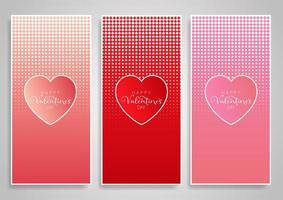 Dekorativa banerdesigner för alla hjärtans dag vektor