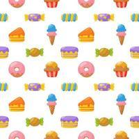Süßigkeiten nahtlose Muster. Süßigkeiten Desserts isoliert auf weißem Hintergrund