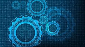 Blaue Technologie übersetzt Rad und Zahn-Hintergrund. vektor