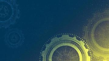 Cyber-Technologie übersetzt Rad und Zahn mit Stromkreis-Linie Hintergrund. vektor