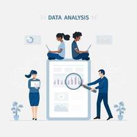 Dataanalys och teamworkillustration vektor