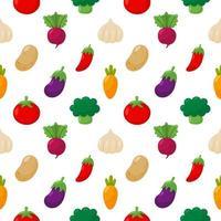 Grönsaksikoner ställer in sömlösa mönster