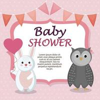 baby shower kort med söt kanin och uggla