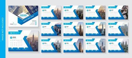 Blå vinkeldesign företags skrivbord kalendermall vektor