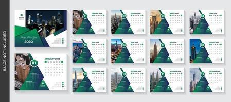 Grön gradienttriangeldesign Företags skrivbordskalendermall vektor