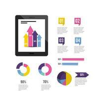 tablet-teknik med infographic affärsdiagram