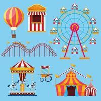 Cirkus- och festivaluppsättning ikontecknad film vektor