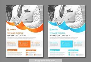 Curved Design Moderne und saubere Business Flyer Vorlage vektor
