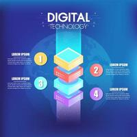 Isometrische Infografiken entwerfen 4 Optionen oder Schritte für das Geschäft