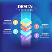 Isometrisk infografik design 4 alternativ eller steg för företag