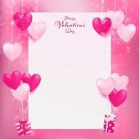 Tomt papper med rosa ballonger