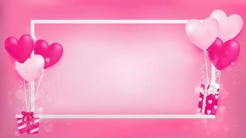 Vit gräns med hjärtballonger