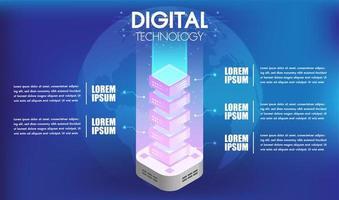 Konzept der Big-Data-Technologie-Verarbeitung mit 5 Optionen vektor