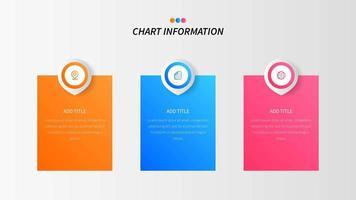 Drei Blockoptionen oder -schritte infographic mit Ikonen vektor