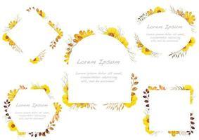 Satz gelbe Aquarellblumenrahmen lokalisiert auf einem weißen Hintergrund. vektor