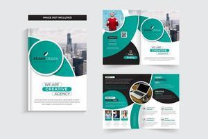 Aquamarines und schwarzes Firmenkundengeschäft-Broschüren-Schablonen-Design