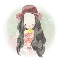 Hand gezeichnetes Mädchen, das Blumenstrauß von Blumen hält