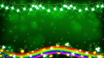 Lichterkette auf Grünton und eine Regenbogenlinie vektor
