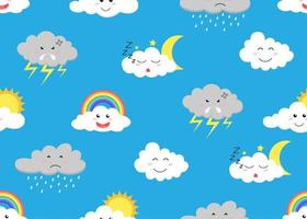 Nahtloses Muster von netten Wolkenkarikatur emojis auf Himmelhintergrund vektor
