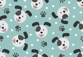 Nahtloses Muster des Hundegesichtes, -tatze und -punktes auf Pastellhintergrund vektor