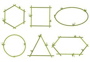 Sammlung des grünen Bambusgrenzrahmens vektor
