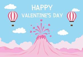 Valentinstaghintergrund mit Vulkaneruption der Liebe und der Ballone im blauen Himmel