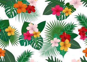 Sömlös modell av tropiska blommor med blad på vit bakgrund