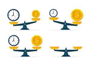 Uppsättning av klockor och pengar på skalor