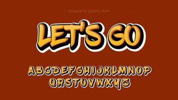 grafitti stil gul typografi design vektor