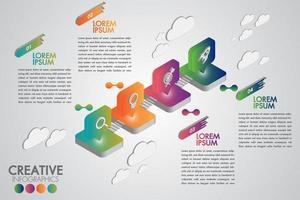 Infographic Schablone des isometrischen bunten Ikonengeschäfts mit 4 Schritten