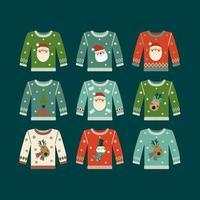 Weihnachtsset Pullover mit Weihnachtsmann, Hirsch, Schneemann und Baum vektor