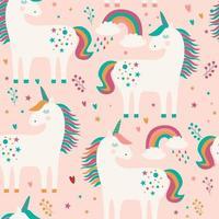 Seamless mönster med enhörningar, regnbåge och stjärnor på rosa bakgrund.