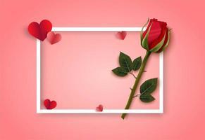 Rosa bakgrund för valentindag med den vita ramen, hjärtan och ros