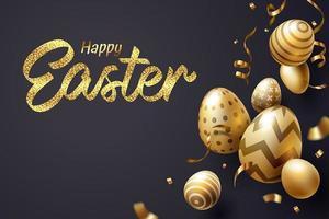 Fallendes goldenes Osterei und fröhlicher Ostern-Text auf dunklem Hintergrund vektor