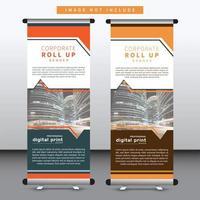 Business Stand Banner Design mit abgewinkelten Ausschnitt Design
