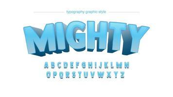 Välvd fet 3D blå typografi