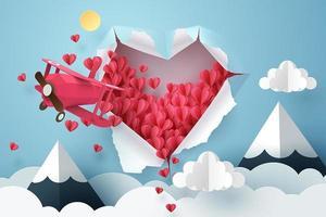 Papierflugzeug durch ein Herzloch fliegen und in den Himmel gerissen vektor