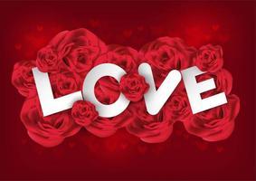 Rote Rosen und große Buchstaben, die Liebe für Valentinsgruß auf rotem Herzhintergrund buchstabieren
