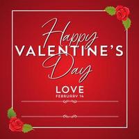 Glückliches Valentinstagdesign mit Rose Frame